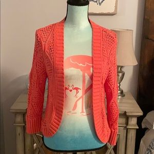 Madison coral open weave cropped open cardigan
